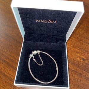 Pandora heart clasp bracelet with safety chain